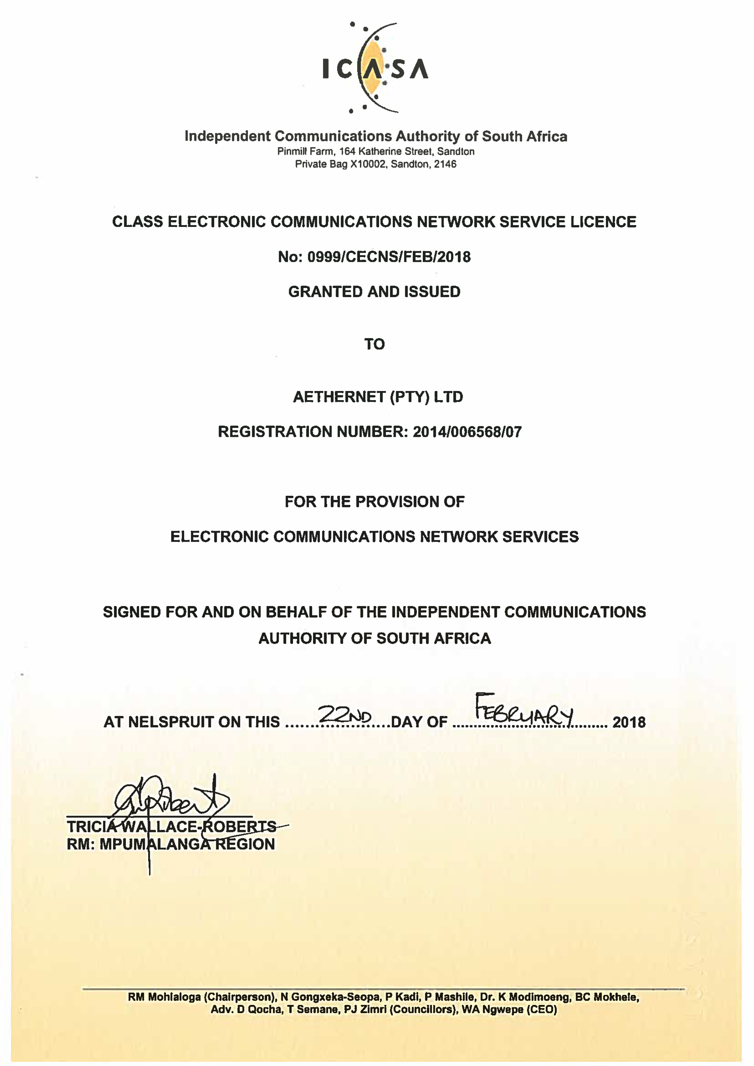Our license to build and operate network infrastructure.
